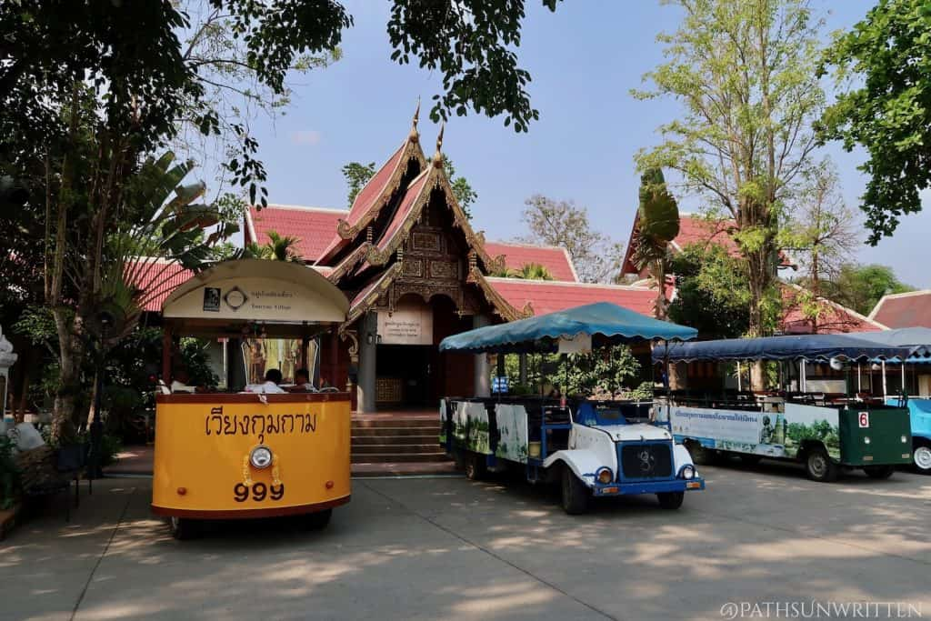 Tour carts outside of the Wiang Kum Kam Information Center