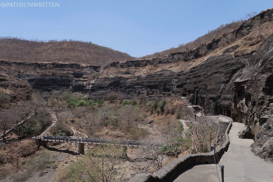 The Ajanta Caves in Maharashtra are some of the earliest rock-cut temple complexes in southern India