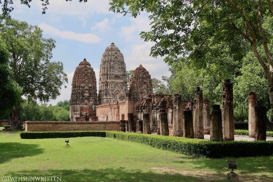 Wat Si Sawai in Sukhothai is a Khmer prang that was redecorated with Thai Buddhist iconography