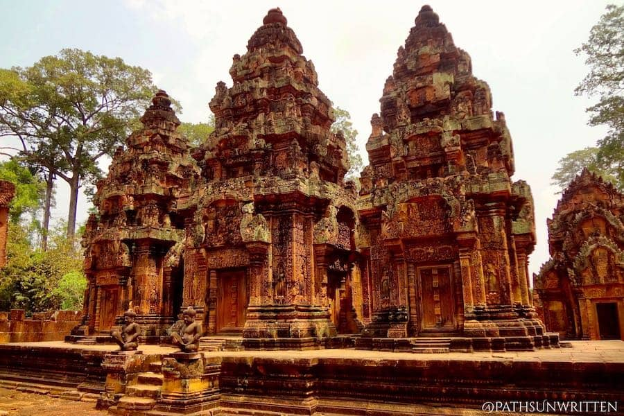 Banteay Srei located north of angkor is considered one of the most beautiful examples of Khmer architecture