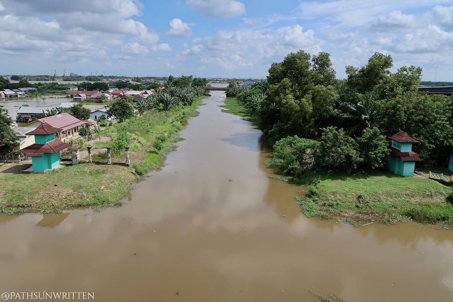One of many canals leading from ancient Palembang's city center to the Musi River